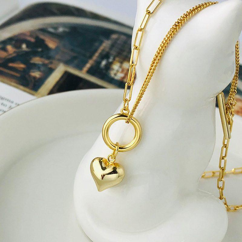 Dây chuyền bạc mạ vàng trái tim LILI_939266-2