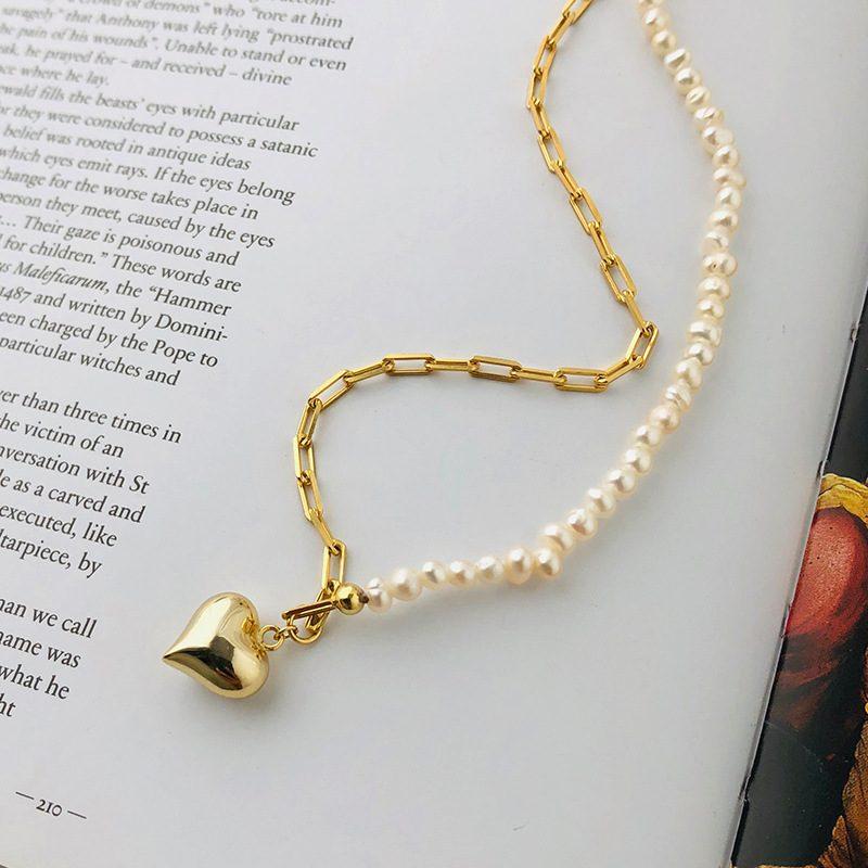 Dây chuyền bạc mạ vàng trái tim ngọc trai LILI_161768-1