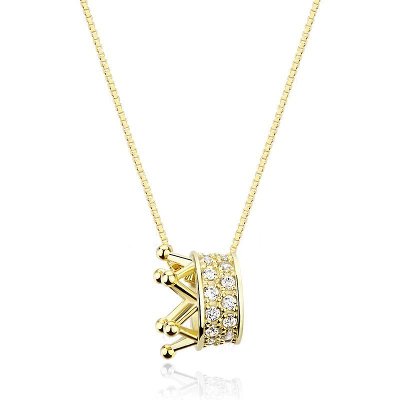 Dây chuyền bạc mạ vàng vương miện LILI_895879-2