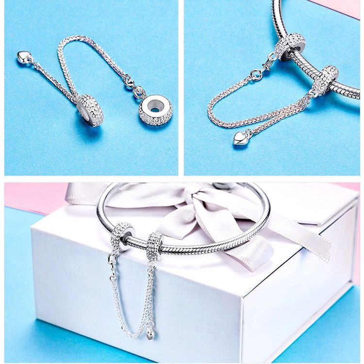 Hạt charm bạc mạ bạch kim xỏ DIY dạng vòng đính trái tim LILI_272257-02