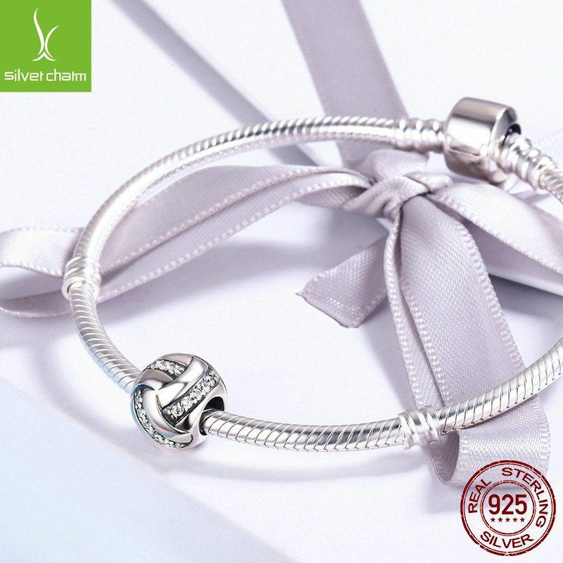 Hạt charm bạc mạ bạch kim xỏ DIY hình cầu đính đá Zircon LILI_852294-03