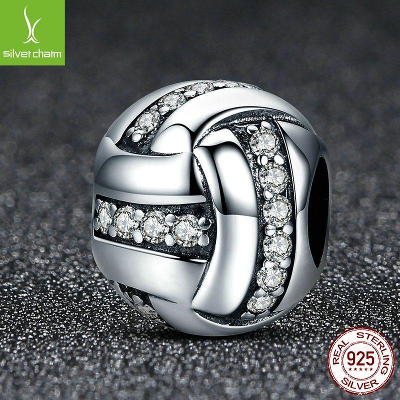 Hạt charm bạc mạ bạch kim xỏ DIY hình cầu đính đá Zircon LILI_852294-04