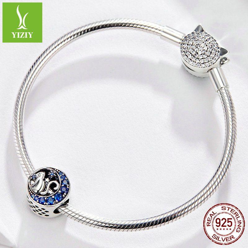 Hạt charm bạc mạ bạch kim xỏ DIY hình chú mèo mặt trăng LILI_397333-03