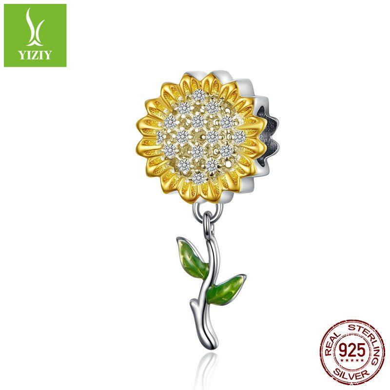 Hạt charm bạc mạ bạch kim xỏ DIY hình hoa hướng dương LILI_351737-01