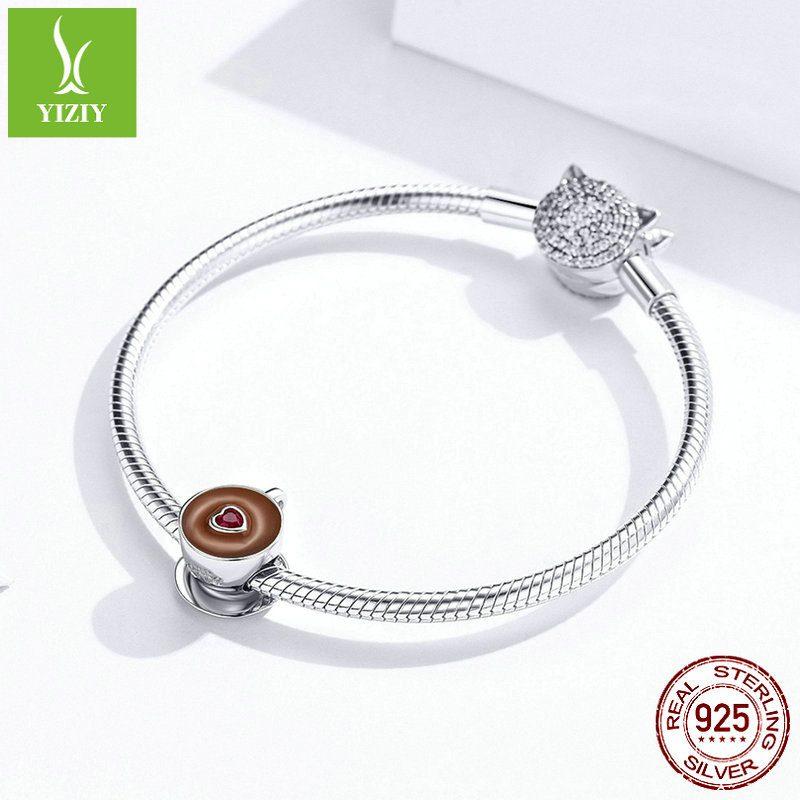 Hạt charm bạc mạ bạch kim xỏ DIY hình ly cafe LILI_835371-04
