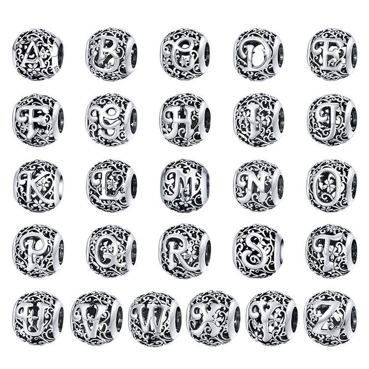 Hạt charm bạc xỏ DIY theo chữ cái LILI_246618-01