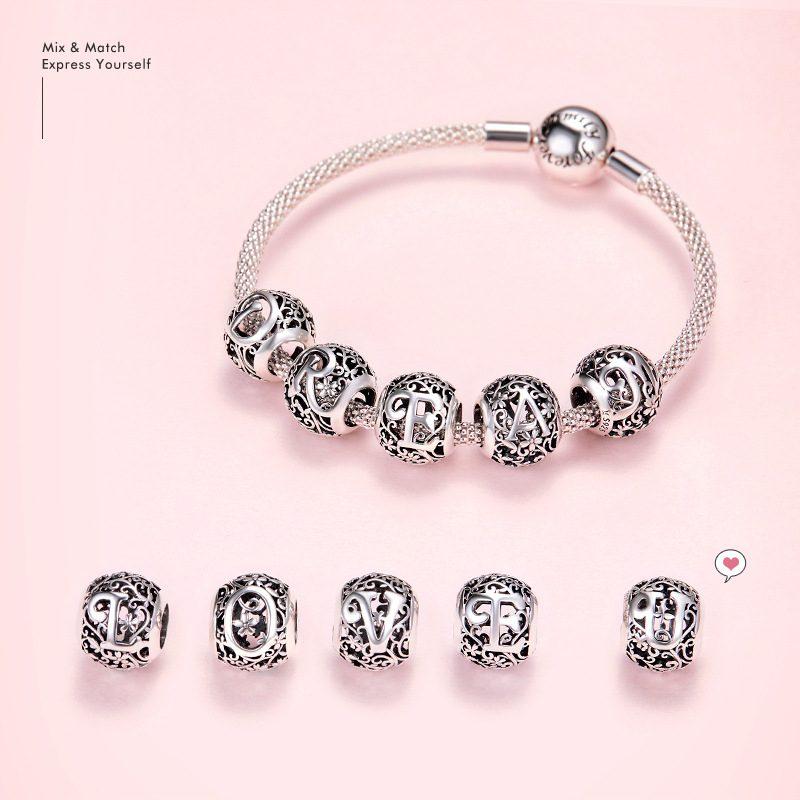 Hạt charm bạc xỏ DIY theo chữ cái LILI_246618-03