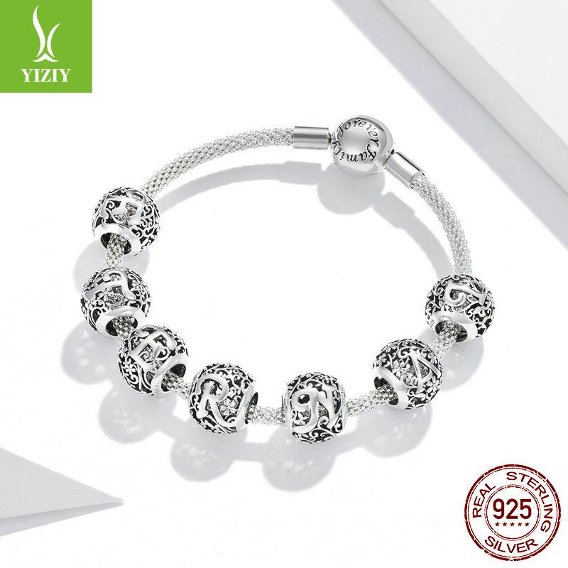Hạt charm bạc xỏ DIY theo chữ cái LILI_246618-04