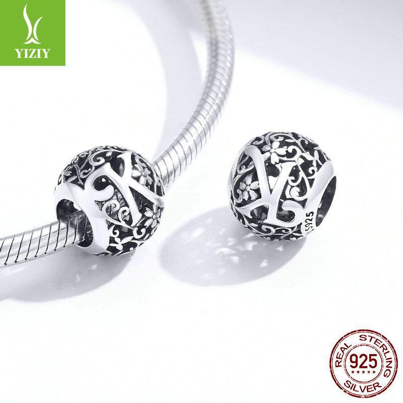 Hạt charm bạc xỏ DIY theo chữ cái LILI_246618-05