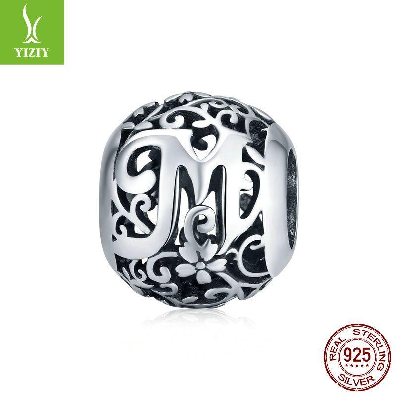 Hạt charm bạc xỏ DIY theo chữ cái LILI_246618-06