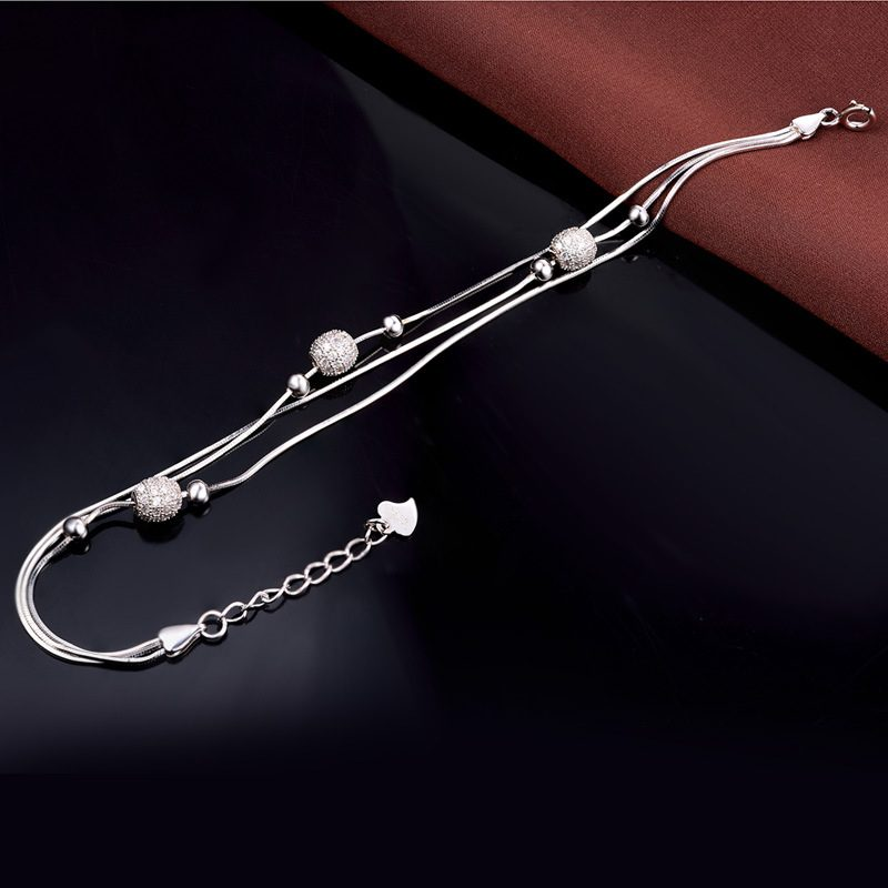 Vòng tay Lắc tay bạc mạ bạch kim đính đá Zircon LILI_897722-01