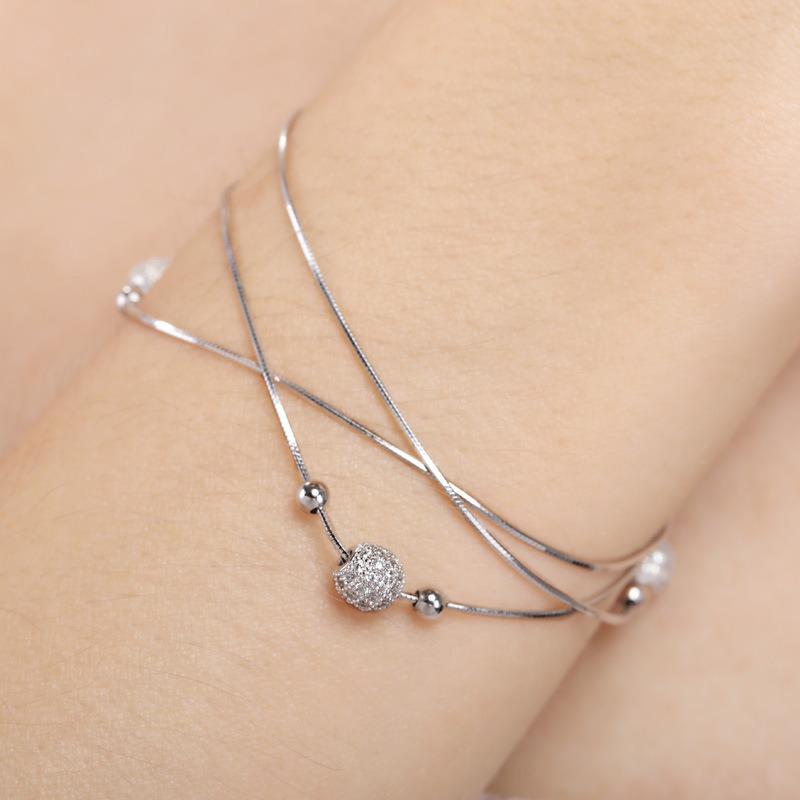 Vòng tay Lắc tay bạc mạ bạch kim đính đá Zircon LILI_897722-03