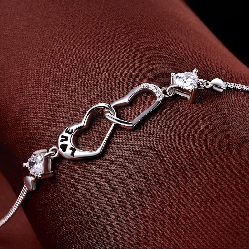 Vòng tay Lắc tay bạc mạ bạch kim đính đá Zircon hình trái tim LILI_839979-01