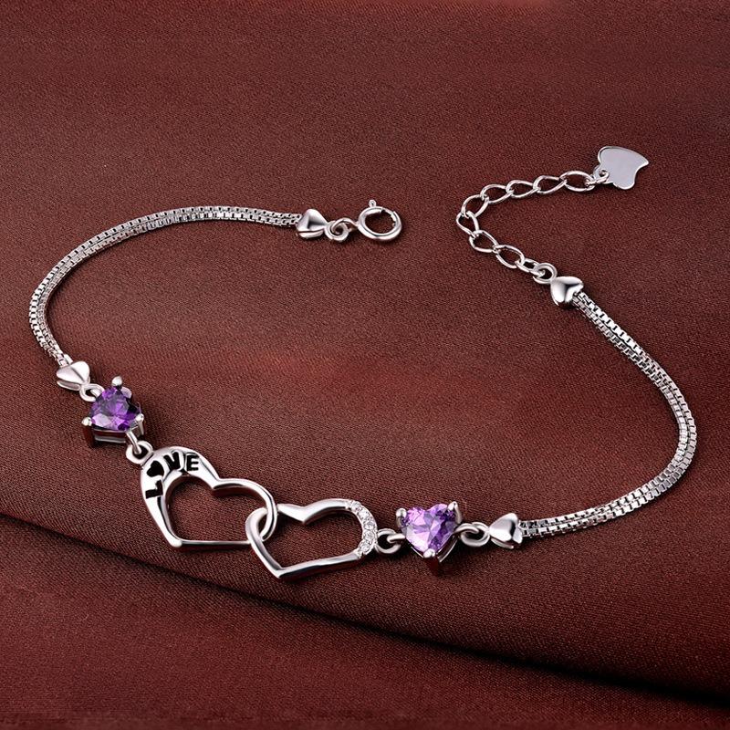Vòng tay Lắc tay bạc mạ bạch kim đính đá Zircon hình trái tim LILI_839979-02