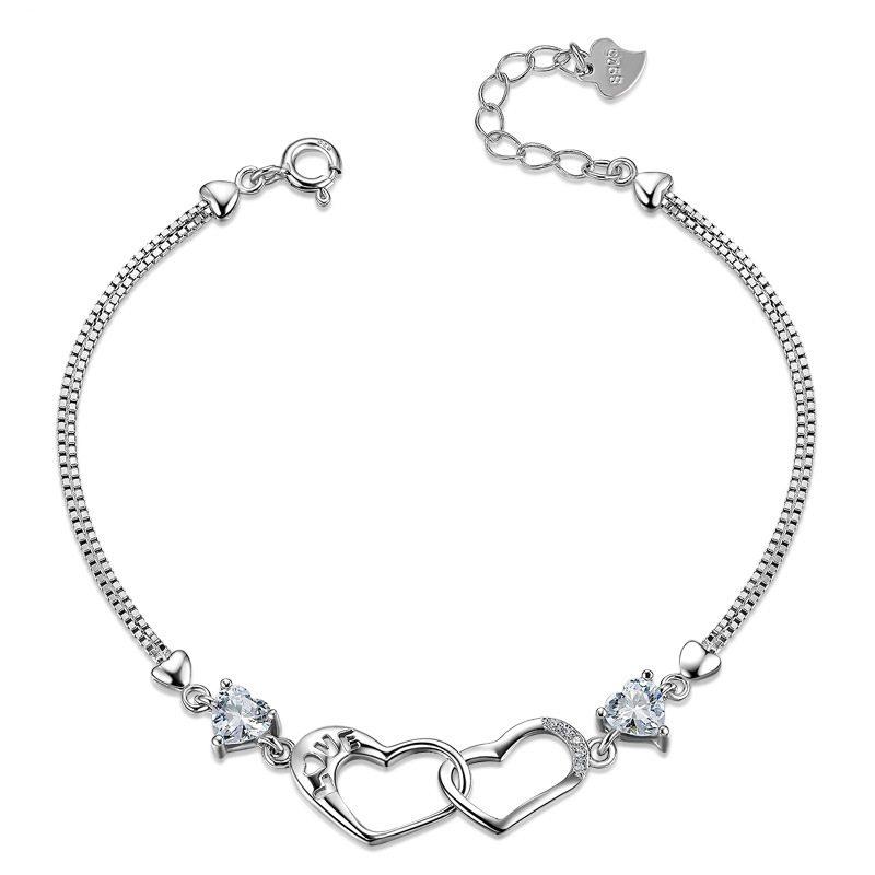 Vòng tay Lắc tay bạc mạ bạch kim đính đá Zircon hình trái tim LILI_839979-04