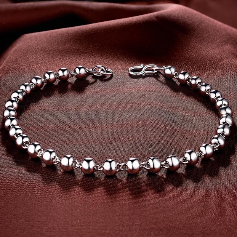 Vòng tay Lắc tay bạc mạ bạch kim đính dạng chuỗi hạt LILI_222824-01