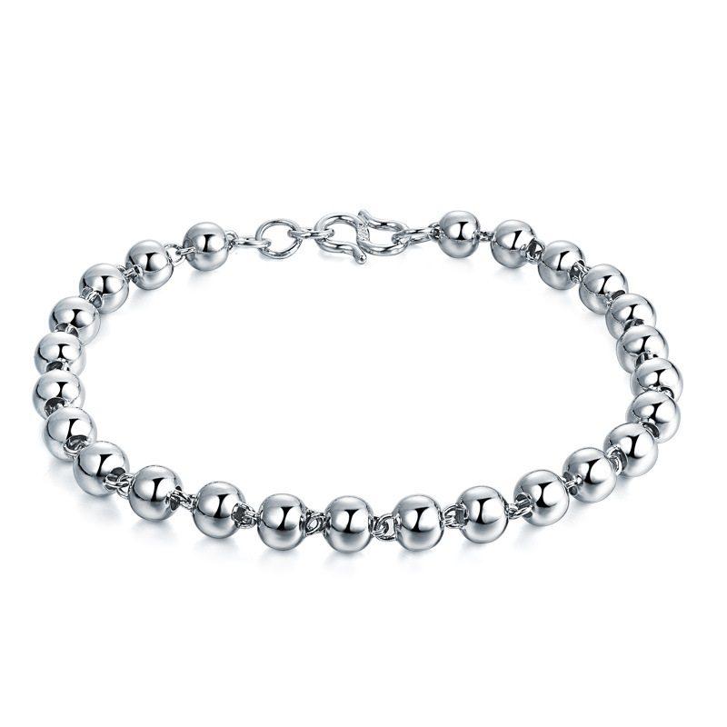 Vòng tay Lắc tay bạc mạ bạch kim đính dạng chuỗi hạt LILI_222824-04