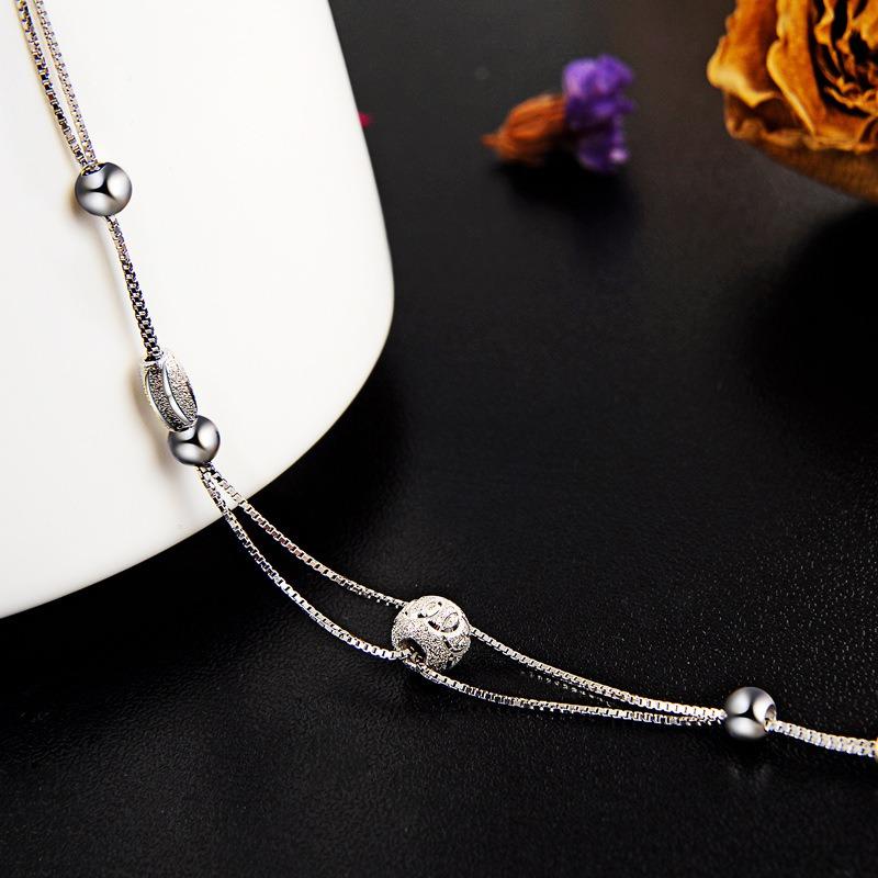 Vòng tay Lắc tay bạc mạ bạch kim đính hạt cườm LILI_847936-02