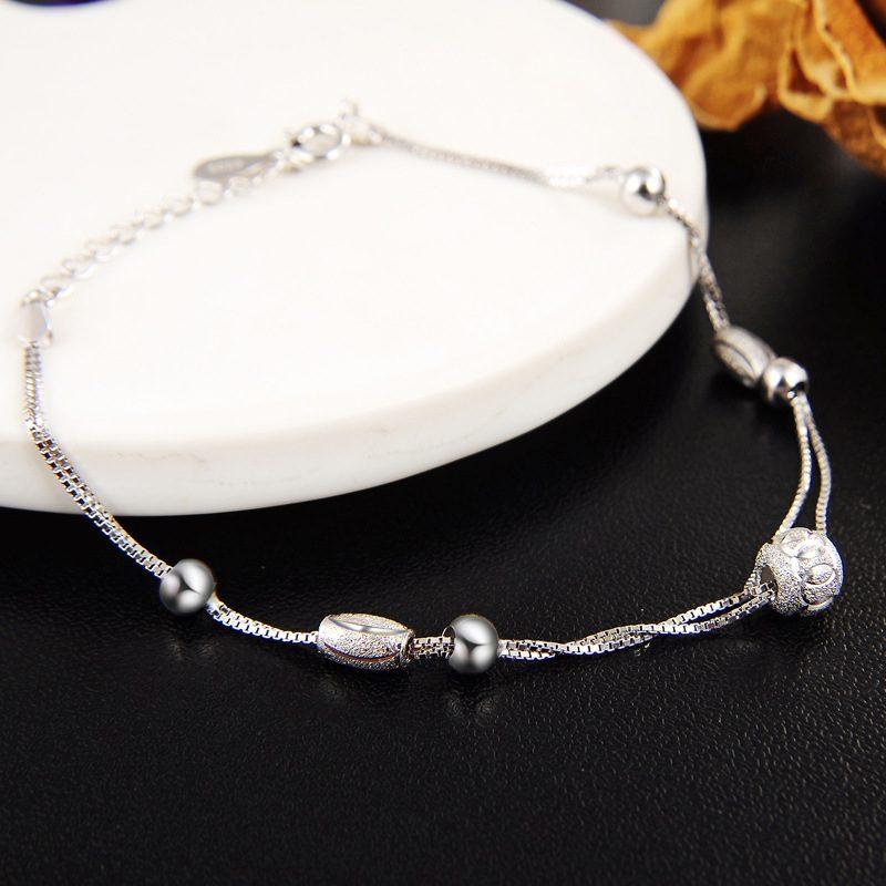 Vòng tay Lắc tay bạc mạ bạch kim đính hạt cườm LILI_847936-03