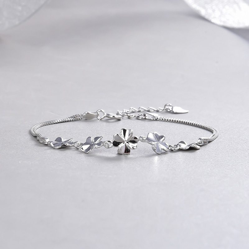 Vòng tay Lắc tay bạc mạ bạch kim hính cánh hoa LILI_443672-01