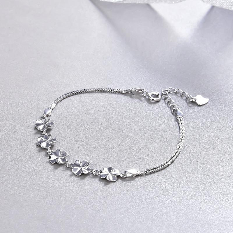 Vòng tay Lắc tay bạc mạ bạch kim hính cánh hoa LILI_443672-03