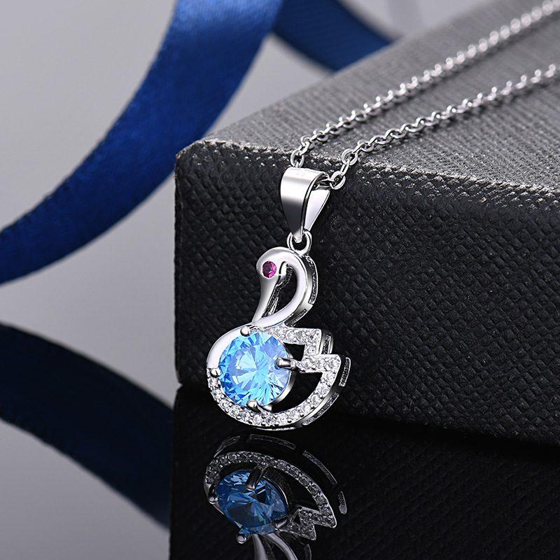 Mặt dây chuyền bạc thiên nga đính kim cương LILI_935979-3