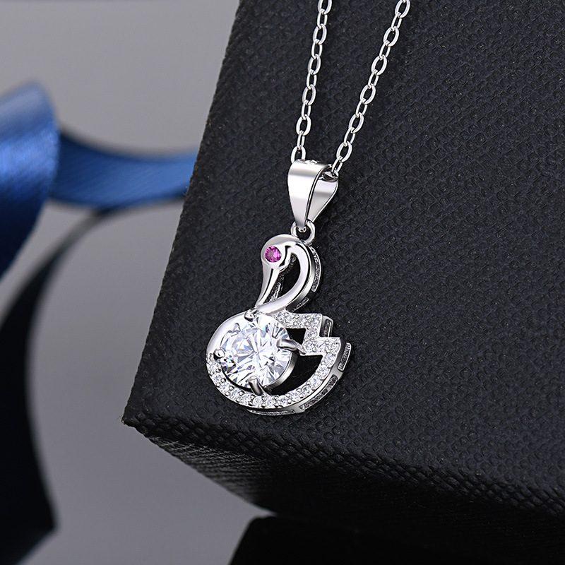 Mặt dây chuyền bạc thiên nga đính kim cương LILI_935979-4