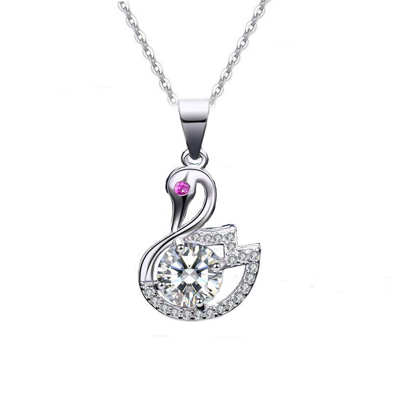 Mặt dây chuyền bạc thiên nga đính kim cương LILI_935979-6