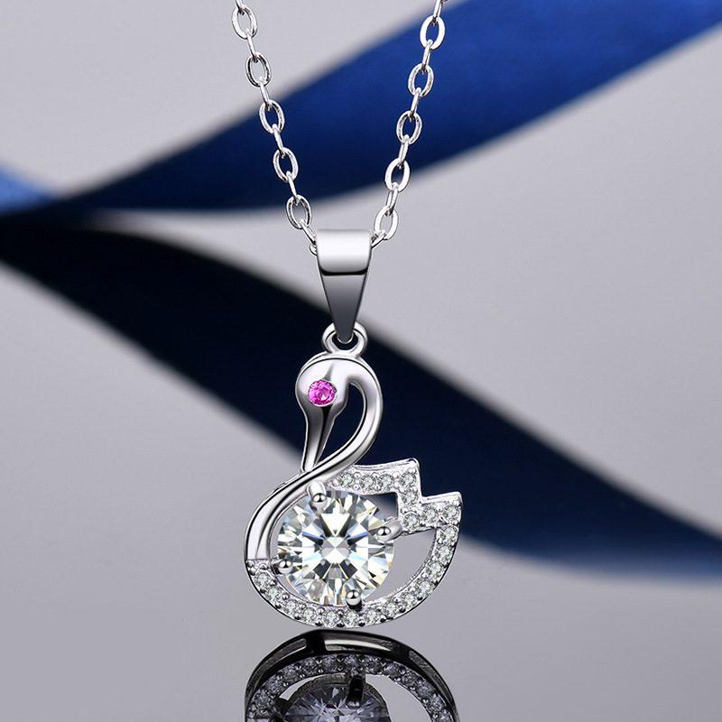 Mặt dây chuyền bạc thiên nga đính kim cương LILI_935979-7