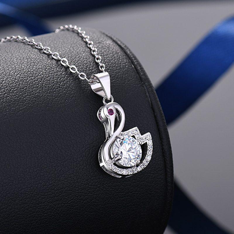Mặt dây chuyền bạc thiên nga đính kim cương LILI_935979-8