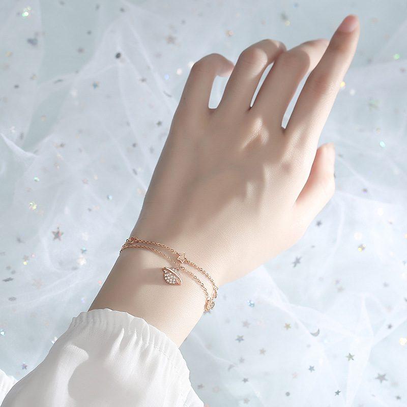 Lắc tay Vòng tay bạc dạng chuỗi đính đá Zircon hình giải ngân hà LILI_781655-01