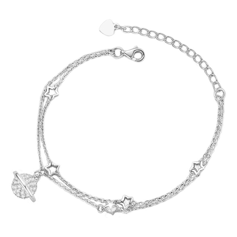 Lắc tay Vòng tay bạc dạng chuỗi đính đá Zircon hình giải ngân hà LILI_781655-04