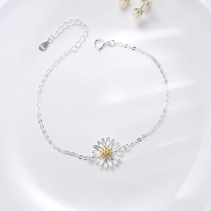 Lắc tay Vòng tay bạc dạng chuỗi hình hoa cúc trắng LILI_975918-01