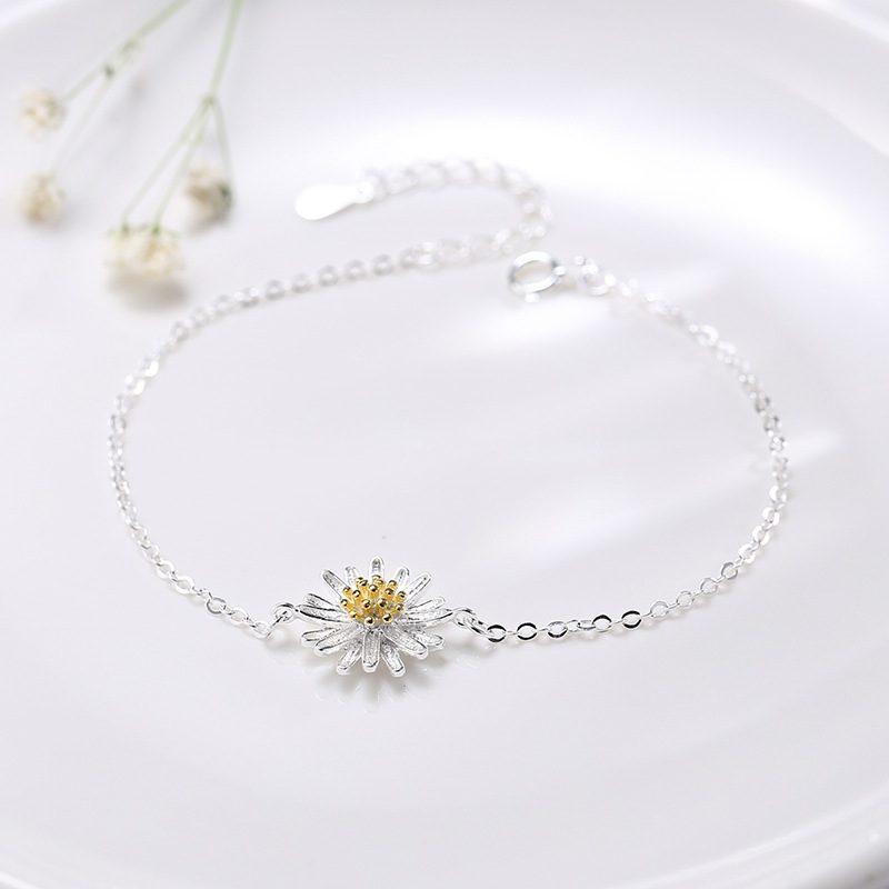 Lắc tay Vòng tay bạc dạng chuỗi hình hoa cúc trắng LILI_975918-02