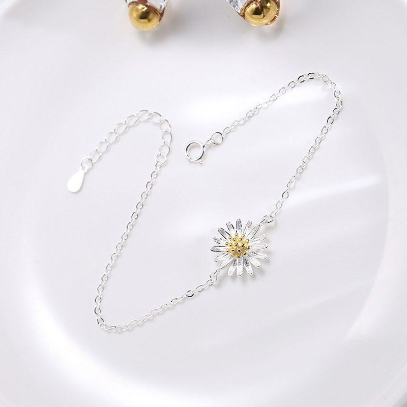Lắc tay Vòng tay bạc dạng chuỗi hình hoa cúc trắng LILI_975918-04