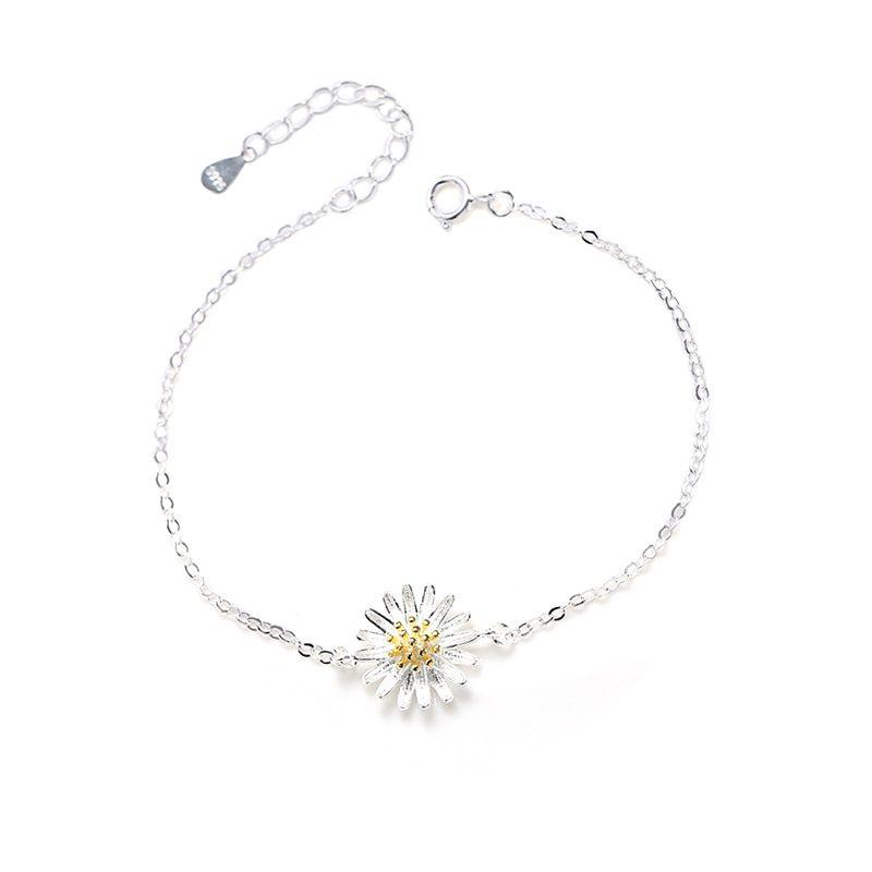Lắc tay Vòng tay bạc dạng chuỗi hình hoa cúc trắng LILI_975918-05