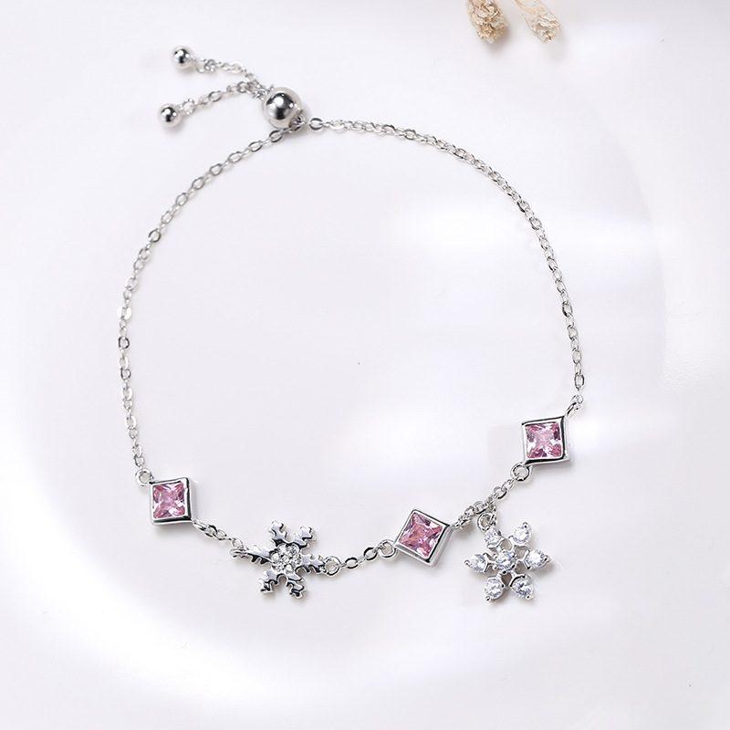 Lắc tay Vòng tay bạc đính đá Zircon hình bông hoa tuyết LILI_379416-01