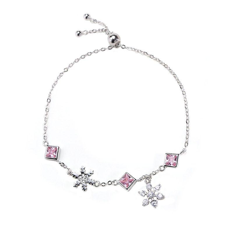Lắc tay Vòng tay bạc đính đá Zircon hình bông hoa tuyết LILI_379416-04