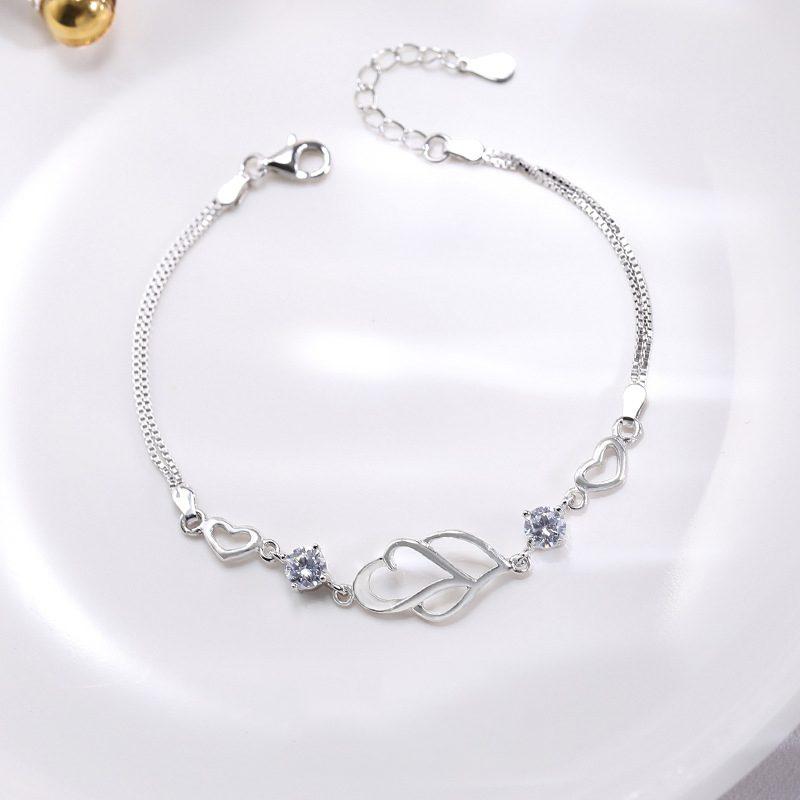 Lắc tay Vòng tay bạc đính đá Zircon hình cặp trái tim LILI_991484-05