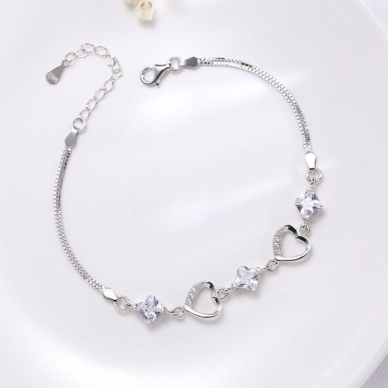 Lắc tay Vòng tay bạc đính đá Zircon hình trái tim LILI_547159-05