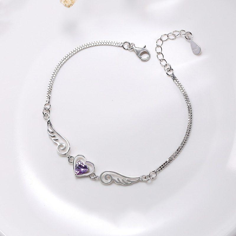 Lắc tay Vòng tay bạc đính đá Zircon hình trái tim thiên thần LILI_489343-01