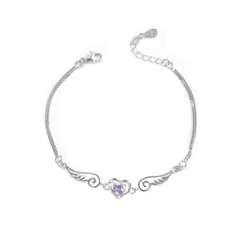 Lắc tay Vòng tay bạc đính đá Zircon hình trái tim thiên thần LILI_489343-04