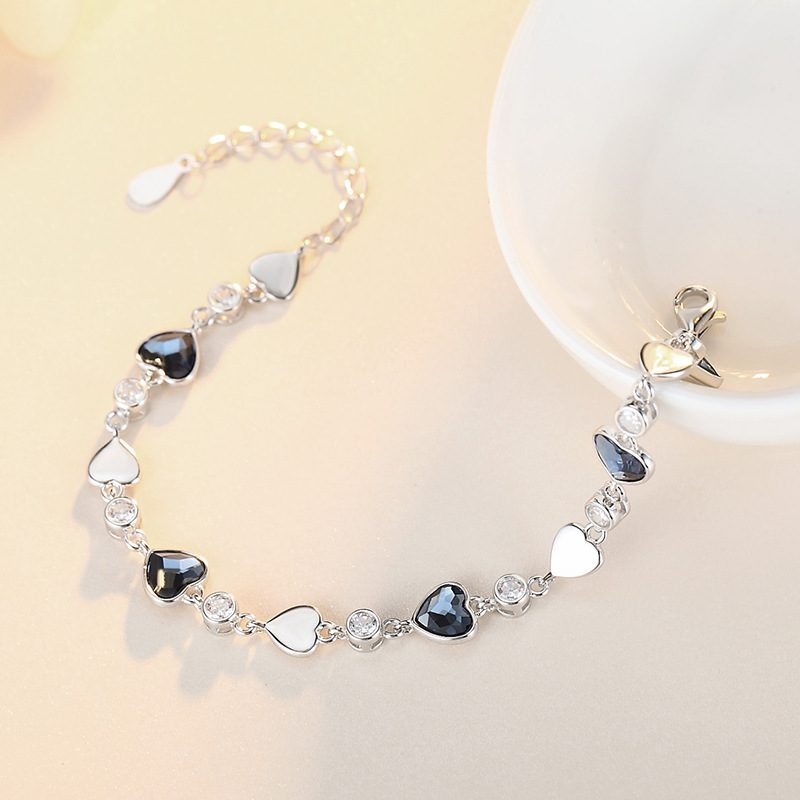 Lắc tay Vòng tay bạc đính đá pha lê hình trái tim LILI_427425-03