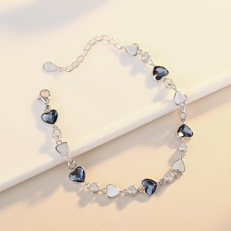 Lắc tay Vòng tay bạc đính đá pha lê hình trái tim LILI_427425-04