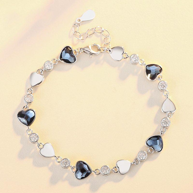 Lắc tay Vòng tay bạc đính đá pha lê hình trái tim LILI_427425-05