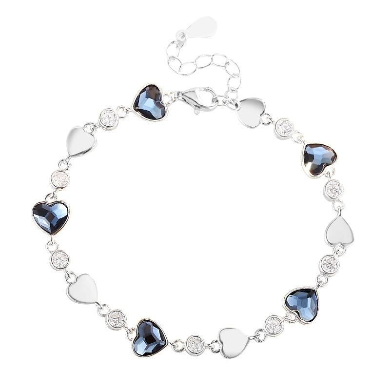 Lắc tay Vòng tay bạc đính đá pha lê hình trái tim LILI_427425-06