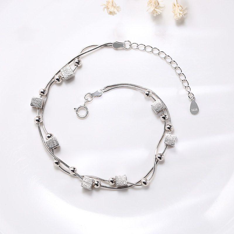 Lắc tay Vòng tay bạc đính khối vuông hạt tròn LILI_986223-03