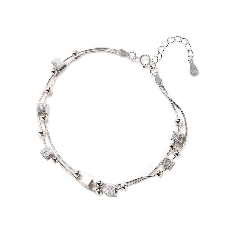 Lắc tay Vòng tay bạc đính khối vuông hạt tròn LILI_986223-05