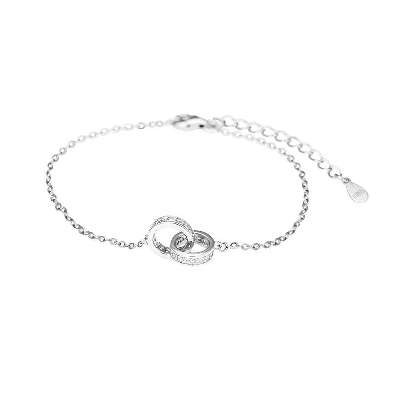 Lắc tay Vòng tay bạc hình 2 vòng lồng nhau LILI_334537-03