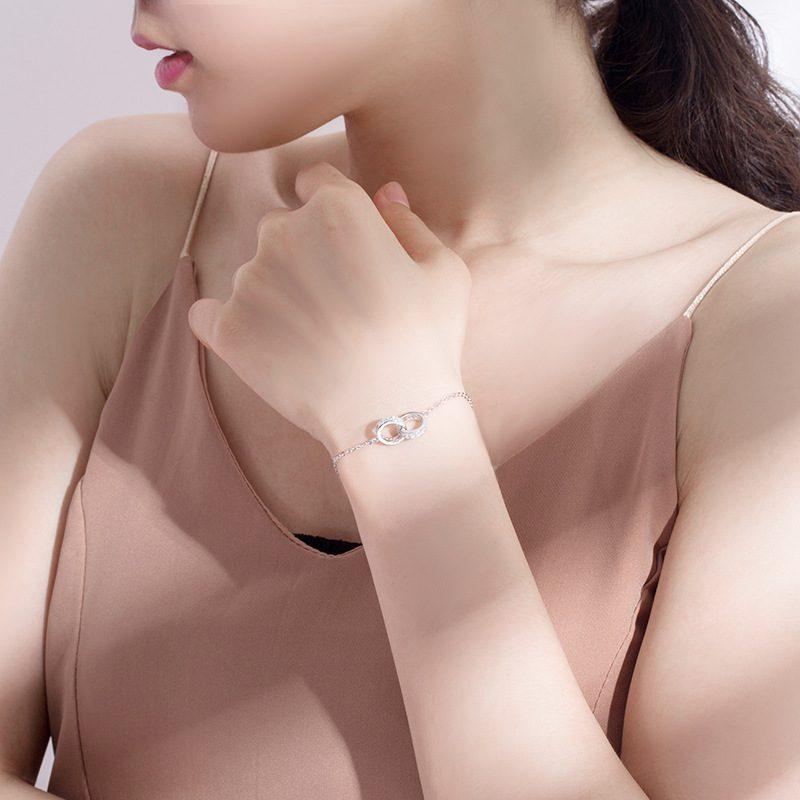 Lắc tay Vòng tay bạc hình 2 vòng lồng nhau LILI_334537-05